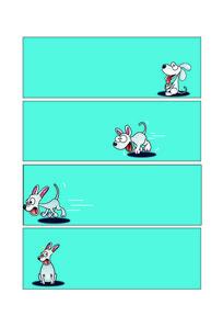 撞墙的卡通狗四格插画