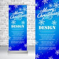 白雪花蓝色圣诞节易拉宝