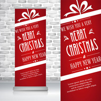红色喜庆礼物圣诞节易拉宝
