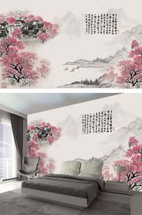 水墨山水手绘中国画电视背景墙