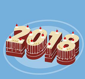 2018蛋糕创意字体设计