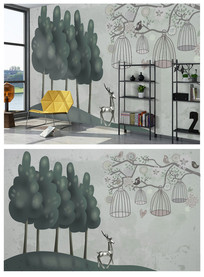 北欧个性树木麋鹿背景墙