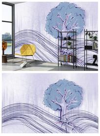 北欧简约线条树木背景墙装饰画