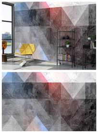 个性几何现代图案卧室背景墙