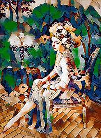 花园少女油画装饰画