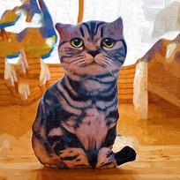 油画猫装饰画