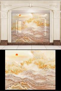 大理石云中歌高山背景墙