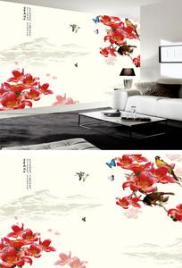 花鸟国画中式电视背景墙
