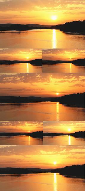 湖边黄昏日落美景视频