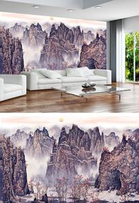 江山如画中式电视背景墙
