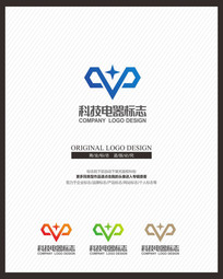 现代简约科技电子标志设计 CDR