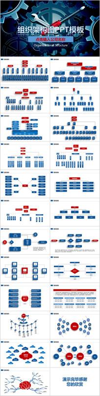 企业组织结构图表ppt模板素材免费下载(编号4606354)