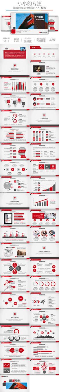 2018红色商务新年计划PPT模板