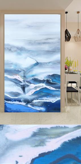 抽象蓝色山水玄关装饰画