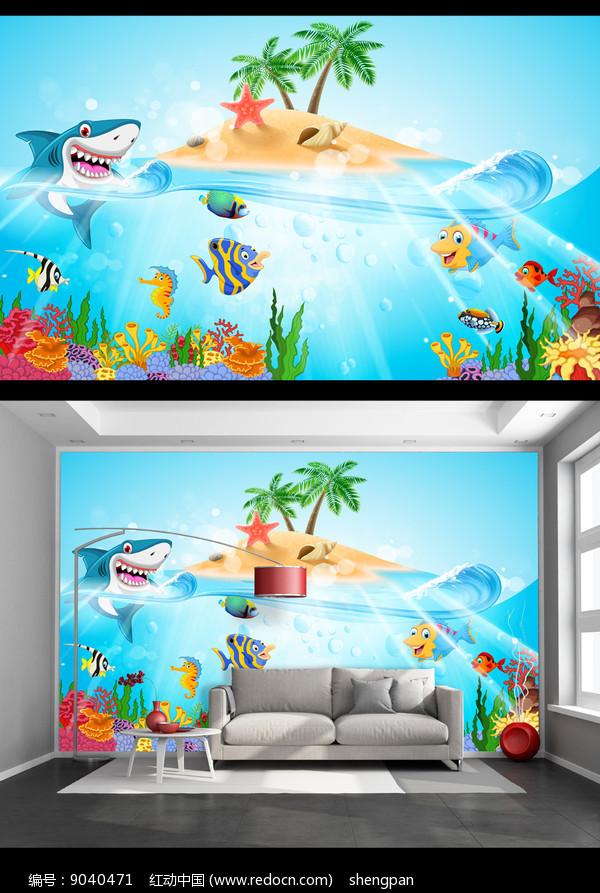 大海岛屿风光儿童房背景墙图片