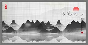 墨舞写意背景装饰山水画