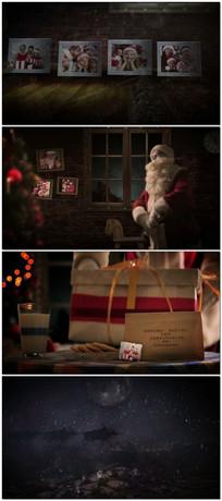 圣诞老人雪中送礼物视频模版