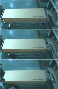 木头箱子编号棺材推进冷库视频