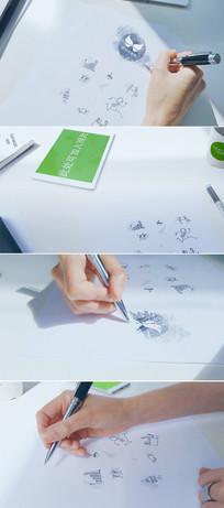 手绘草图素描标志展示模板