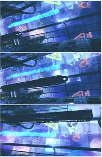 未来城市地铁隧道霓虹灯光视频