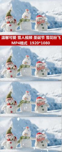 雪人雪花飘落雪花纷飞飘圣诞节