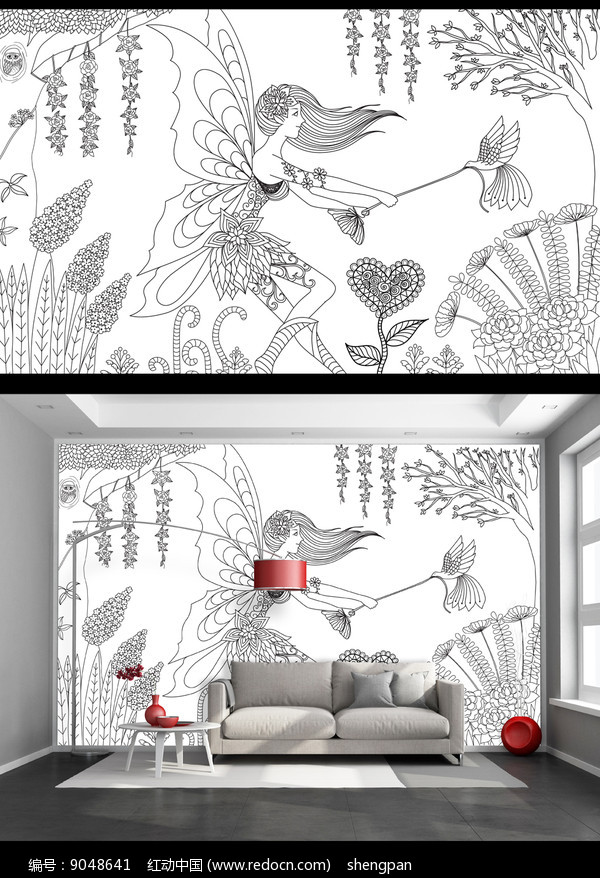 黑白线绘森林精灵艺术背景墙图片