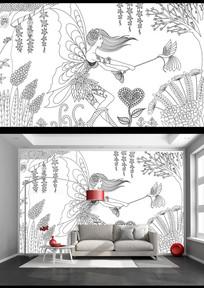 黑白线绘森林精灵艺术背景墙 PSD