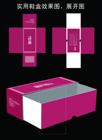 创意实用简洁刀版鞋盒矢量图