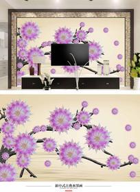 花卉电视背景墙壁画装饰