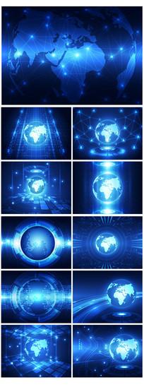 精品蓝色科技地球背景元素