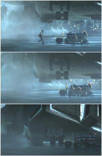 飞机降落放起落架轮胎触地视频