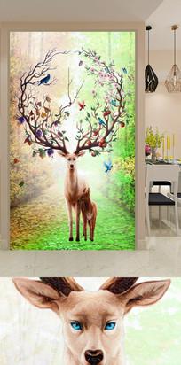 梦幻森林麋鹿玄关装饰画