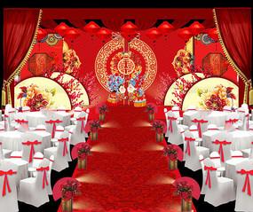 红色中式婚礼场景图