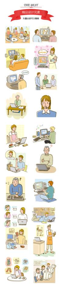 老年生活与家庭插画
