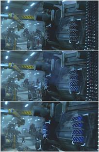 机器人发动机点火喷出火焰视频