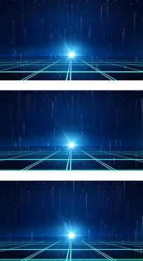 蓝色科技感线条空间新闻演播室视频