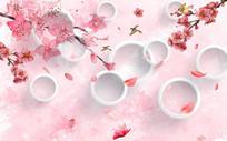 现代清新粉色桃花背景墙