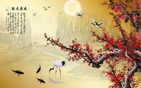 新中式花鸟古典中国风背景墙