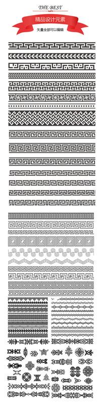 古典传统长形边框花纹素材