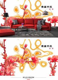 花开富贵纹理背景墙