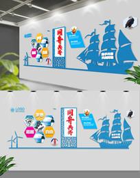 蓝色大气扬帆起航文化墙