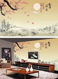 梅花山水国画中式电视背景墙