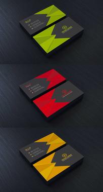 三种色块风格的传媒名片设计