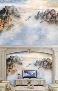 大理石意境山水画背景墙