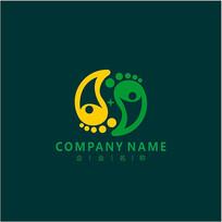 教育 儿童 脚印 标志 logo