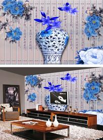 青花瓷蓝牡丹山水电视背景墙