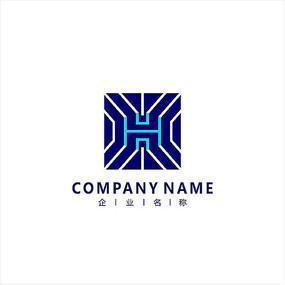 红色h字母logo设计