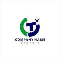 字母T电子科技标志 logo CDR