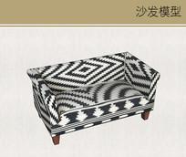 布料黑白花纹沙发