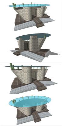 抽象艺术风格公厕SU模型